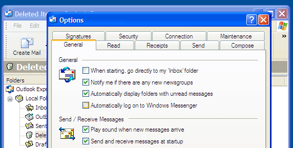 windopws messenger in outlook express options